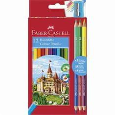 Faber-Castell Barevné pastelky, 12 barev + 3 oboustranné, šestihranné + ořezávátko