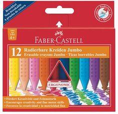 """Faber-Castell Voskovky """"Jumbo Grip"""", 12 barev, mazatelné"""