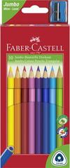 """Faber-Castell Barevné pastelky """"Jumbo"""" + ořezávátko, 10 barev, šestihranné"""