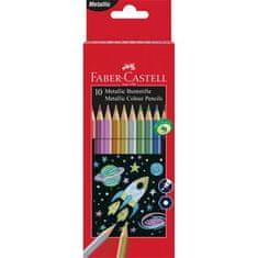Faber-Castell Barevné pastelky, sada, 10 metalických barev, šestihranné