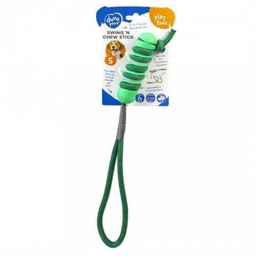 Duvo+ Pryžová hračka na provázku 2 v 1 - 12,2x3,2x3,2cm zelená