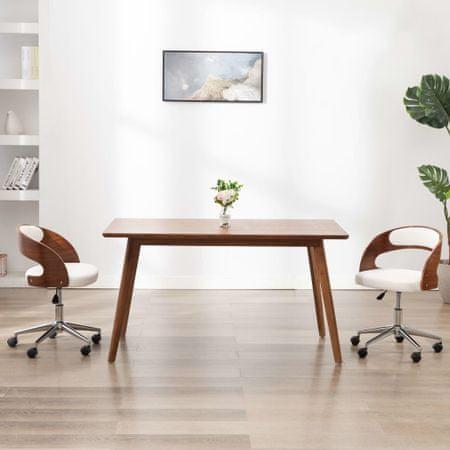 shumee Vrtljiv pisarniški stol bel ukrivljen les in umetno usnje