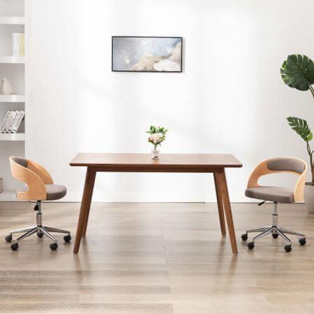 shumee Vrtljivi jedilni stoli 2 kosa taupe ukrivljen les in blago