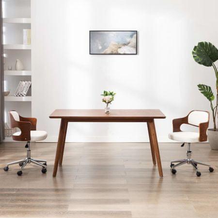 slomart Vrtljiv pisarniški stol bel ukrivljen les in umetno usnje