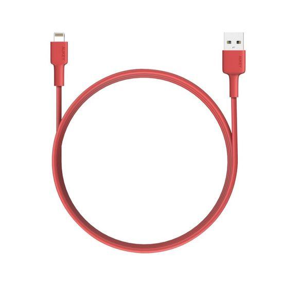Aukey nabíjecí / datový kabel Lightning MFi 8 pin 1,2 m červená