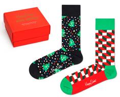 Happy Socks dvojité balení unisex ponožek 2-Pack Holiday Socks Gift Set XMAS02-0100