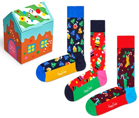 Happy Socks trojité balení unisex ponožek 3-Pack Holiday Socks Gift Set XWLD08-0100 36 - 40 vícebarevná