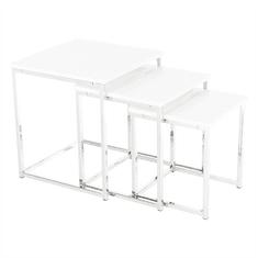 TEMPO KONDELA Set 3 konferenčných stolíkov, biela extra vysoký lesk, ENISOL TYP 3