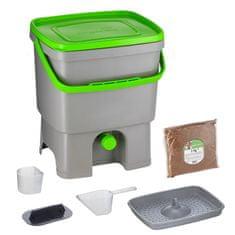 Skaza Bokashi Organko komposter 16l + posip 1kg, sivo zeleni