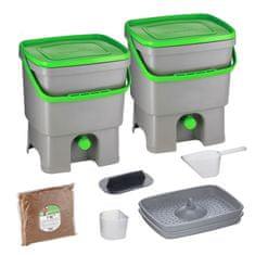 Skaza Bokashi Organko set kompostera 2x16l + posip 1kg, sivo zeleni