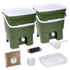 Skaza Bokashi Organko set kompostera 2x16l + posip 1kg, maslinasto zeleni
