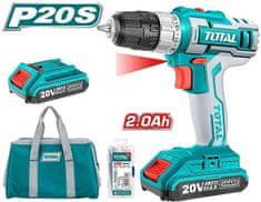 Total One-Stop Tools Vrtací šroubovák aku, 2x2000mAh, 20V Li-Ion, v tašce, sada 47ks, nabíječka 2h