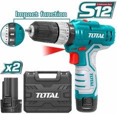 Total One-Stop Tools Vrtací šroubovák aku s příklepem, 2x1500mAh, 12V Li-Ion, TOTAL-TOOLS
