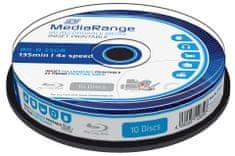 MediaRange BD-R BLU-RAY 25GB 4× spindl 10 ks Inkjet Printable (MR496)