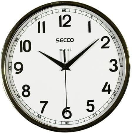 Secco Nástěnné hodiny, rám - chromový, 24,5 cm