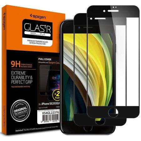 Spigen Full Cover 2-pack zaščitno steklo za iPhone 7/8/SE 2020, črna