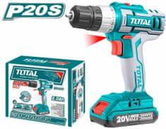 Total One-Stop Tools Vrtací šroubovák aku,1x2000mAh, 20V Li-ion, nabíječka 2h