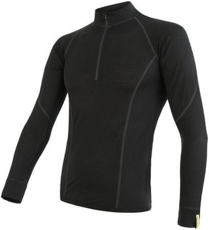 Sensor koszulka męska Merino Active z długimi rękawami i stójką na suwak czarna, S