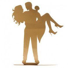 Dekora Plechová silueta na dort zlatá barva novomanželé
