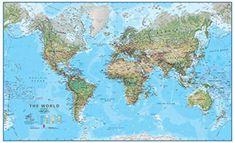 World Maps nástenná mapa Svet Green fyzický 85x136cm lamino, plastové lišty