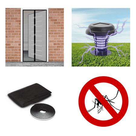 Delight Solarni paket proti komarjem – magnetna mreža za vrata črna 210x100cm + 3x komarnik za okno 150×150cm črn + UV LED solarna past za insekte