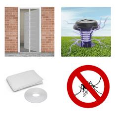 Delight Solarni paket proti komarjem – magnetna mreža za vrata bela 210x100cm + 3x komarnik za okno 150×150cm beli + UV LED solarna past za insekte
