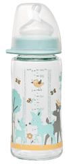 NIP sklenená fľaša so širokým hrdlom, 240 ml, silikón cumlík M