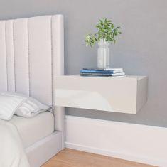 shumee Nástěnné noční stolky 2 ks lesklé bílé 40x30x15 cm dřevotříska