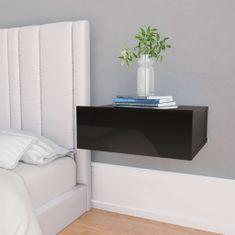 shumee Nástěnný noční stolek černý vysoký lesk 40x30x15 cm dřevotříska
