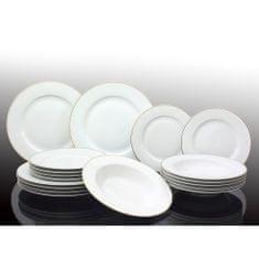 Marex Trade komplet porculanskih tanjura, bijeli s zlatnom crtom, 18 komada