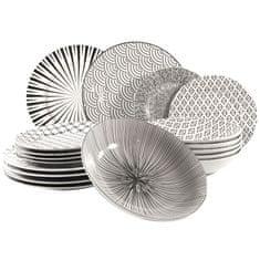 Marex Trade Seoul komplet porculanskih tanjura, bijelo-crni, 18 komada
