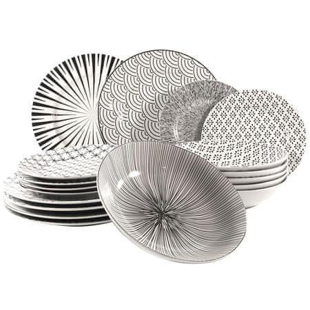 Marex Trade SEOUL 18 db porcelán tányér szett, fehér/fekete