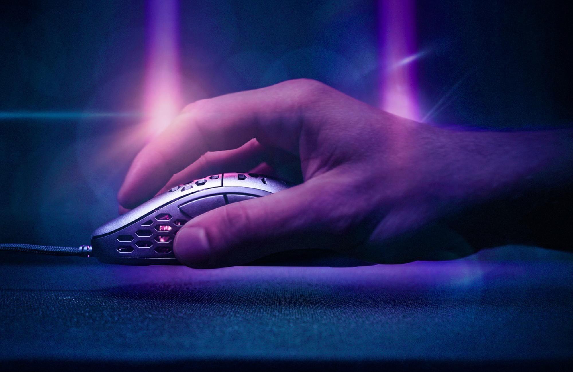 Herní myš Niceboy ORYX M666 Daemon (oryx-m-666-daemon) drátová 10 000 DPI 6 programovatelných tlačítek ultralehká ergonomie