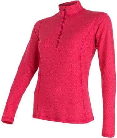 Sensor ženska majica Merino Df dl. rokav, XL, rdeča