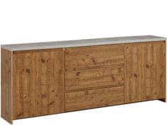 Danish Style Komoda Mecan, 200 cm, beton / dub