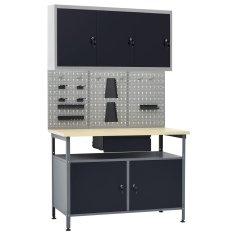 shumee Pracovný stôl s tromi stenovými panelmi a jednou skrinkou