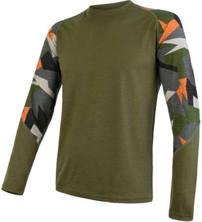 Sensor Merino Impress moška majica z dolgimi rokavi, Safari/Camo, M