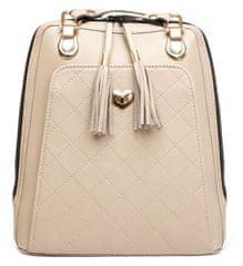 VegaLM Kožený ruksak z pravej hovädzej kože s možnosťou nosenia ako kabelky v béžovej farbe