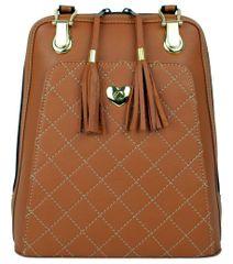 VegaLM Kožený ruksak z pravej hovädzej kože s možnosťou nosenia ako kabelky v tehlovej farbe