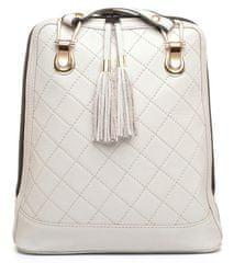 VegaLM Kožený ruksak z pravej kože so strapcami a možnosťou nosenia ako kabelky v šedej farbe