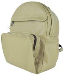VegaLM Kožený batoh z prírodnej kože na zips v khaki farbe