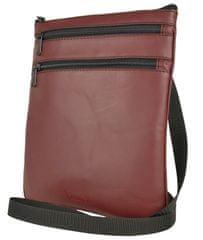 VegaLM Kožená crossbody taška na zipsové vrecká v bordovej farbe