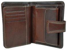 VegaLM UNISEX Kožená elegantná peňaženka z pravej kože v tmavo hnedej farbe