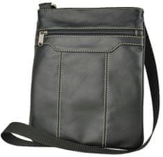 VegaLM Crossbody kožená taška na zips s dekoračným prešívaním v čiernej farbe