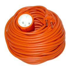 Solight Prodlužovací kabel 230V/6A - 20m, 1 zásuvka, 2 x 1mm, IP20, oranžový
