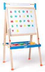 Woody tabla ABC s črkami, z zvitkom papirja in skodelicami