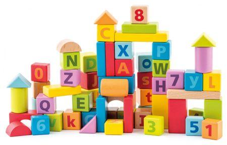 Woody pastelne kocke s črkami in številkami