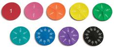 Learning Resources Farebné zlomky - magnetické penové kruhy