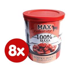 FALCO MAX Deluxe konzerve za odrasle pse, s komadima govedine, 8x 800 g