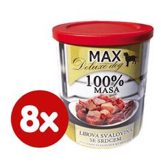 FALCO MAX Deluxe konzerve za odrasle pse, s nemasnim komadima mesa i srcima, 8x 800 g